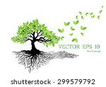 beautiful tree on a white... | Shutterstock .eps vector #299579792