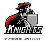 knight mascot with shield | Shutterstock .eps vector #299584796