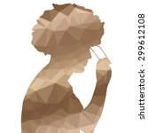 low poly silhouette man on... | Shutterstock .eps vector #299612108