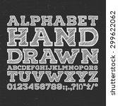 chalk sketched striped alphabet ... | Shutterstock .eps vector #299622062