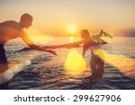 sunset silhouette of young... | Shutterstock . vector #299627906