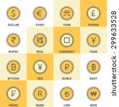 thin line currency icons ... | Shutterstock .eps vector #299633528