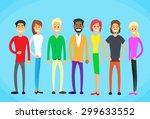 diverse mix race group people... | Shutterstock .eps vector #299633552