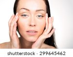 lifting eye area. portrait of a ... | Shutterstock . vector #299645462