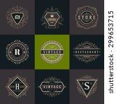 set of monogram logo template... | Shutterstock .eps vector #299653715