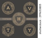 set of monogram logo template... | Shutterstock .eps vector #299653805