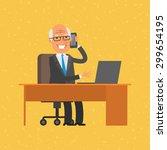 old businessman talking on phone | Shutterstock .eps vector #299654195