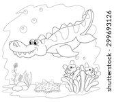 coloring book. funny dinosaur... | Shutterstock .eps vector #299693126