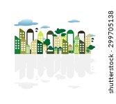 urban landscape in flat design... | Shutterstock .eps vector #299705138