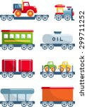 different kind of toys railroad ... | Shutterstock .eps vector #299711252