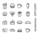 food and drink icon set. flat... | Shutterstock .eps vector #299721095