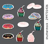 sweet stickers with hand drawn... | Shutterstock .eps vector #299731436