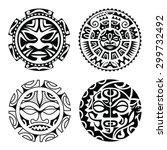 set of polynesian tattoo styled ... | Shutterstock .eps vector #299732492