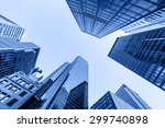 up view in financial districtg  ... | Shutterstock . vector #299740898