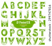 curled summer alphabet with... | Shutterstock .eps vector #299747816