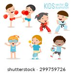 kids and sport  kids playing... | Shutterstock .eps vector #299759726