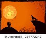 halloween night background with ... | Shutterstock .eps vector #299772242
