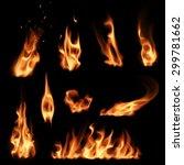 fire flames set | Shutterstock .eps vector #299781662