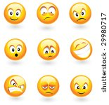 Set Of Nine Smilies With...