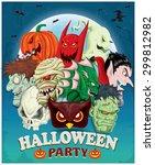 vintage halloween poster design   Shutterstock .eps vector #299812982
