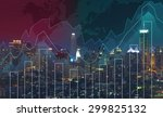 trading graph on the cityscape... | Shutterstock . vector #299825132