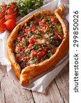 turkish pide pizza with beef... | Shutterstock . vector #299850026