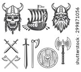 set of monochrome viking...
