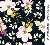 watercolor flowers. seamless... | Shutterstock . vector #299873702