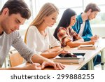 concentrated on exam. group of... | Shutterstock . vector #299888255