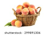 Fresh Peach Fruit In Basket...