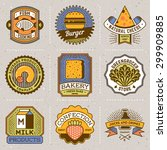 assorted food insignias color... | Shutterstock .eps vector #299909885
