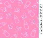 seamless baby pattern in pink...   Shutterstock .eps vector #299921915