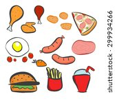 food icons set   fast food... | Shutterstock .eps vector #299934266