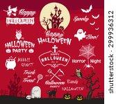 happy halloween design elements.... | Shutterstock .eps vector #299936312