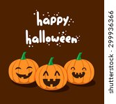 vector cute happy halloween... | Shutterstock .eps vector #299936366