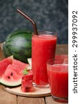 watermelon smoothie on wood... | Shutterstock . vector #299937092