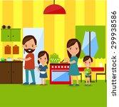 family cooking dinner flat... | Shutterstock .eps vector #299938586