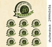 vintage style anniversary sign... | Shutterstock .eps vector #299945456