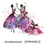 watercolor ballerinas in... | Shutterstock . vector #299949815