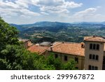 landscape with roofs of houses... | Shutterstock . vector #299967872