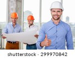 attractive architect is giving... | Shutterstock . vector #299970842