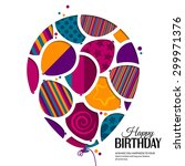 vector birthday card with paper ... | Shutterstock .eps vector #299971376