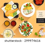 food illustration   fish and... | Shutterstock .eps vector #299974616
