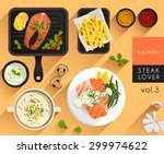 food illustration   salmon... | Shutterstock .eps vector #299974622