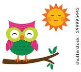 cute vector owl and sun | Shutterstock .eps vector #299995442
