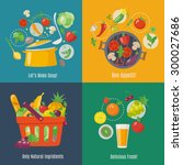food infographic. flat style.... | Shutterstock .eps vector #300027686