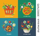 food infographic. flat style....   Shutterstock .eps vector #300027695