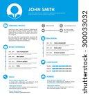 blue minimalistic personal... | Shutterstock .eps vector #300033032