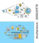 set of thin line flat design...   Shutterstock .eps vector #300035978