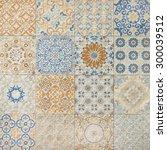 colorful vintage ceramic tiles... | Shutterstock . vector #300039512